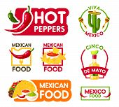 Cinco De Mayo Mexican Holiday Food Icon Set. Chili Pepper, Taco And Nacho With Margarita, Guacamole  poster
