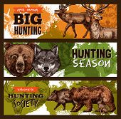 Hunting Club Or Wild Animals Open Season Sketch Banners Design Template. Vector Hunt Prey Of Elk Or  poster