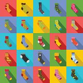 Socks Textile Icons Set. Flat Illustration Of 25 Socks Textile Vector Icons For Web poster