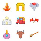 Oriental Trip Icons Set. Cartoon Set Of 9 Oriental Trip Vector Icons For Web Isolated On White Backg poster