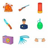 Home Guard Icons Set. Cartoon Set Of 9 Home Guard Vector Icons For Web Isolated On White Background poster