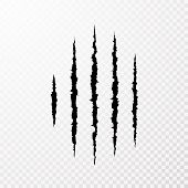 Traces From The Claws Of The Monster. Claw Scratch Mark. Animal Scratch Isolated On Transparent Back poster