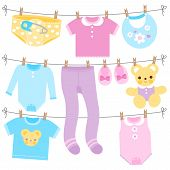 Baby Girl And Baby Boy Clothes Collection Hanging On Clothes Line. Vector Illustration poster