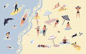 People At Beach Or Seashore Relaxing And Performing Leisure Outdoor Activities - Sunbathing, Reading poster