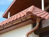 Close Up View On House Metal Roof Close Up View On House Metal Roof Problem Areas For Rain Gutter Wa poster