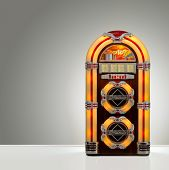 foto of jukebox  - Old retro jukebox in an empty room with nice illumination - JPG