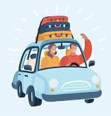 Vector Cartoon Illustration Of Happy Couple Traveling By Car Trip. Young Family In Honeymoon Or Vaca poster