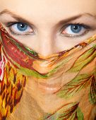 image of yashmak  - Girl wearing paranja with beautiful deep blue eyes