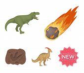 A Falling Meteorite,parasaurolophus, Tyrannosaurus, An Imprint Of A Dinosaurs Foot. The Dinosaur An poster