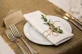 Wedding Table Setting In Rustic Style. Eco Style. Wedding Decoration. Table Setting With A Sign For  poster