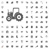 Tractor Icon. Agriculture And Farm Vector Icons Set. Farm And Agriculture Illustrations And Vector I poster