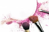 Powder And Blush Forming Frame, With Makeup Brushes And Copyspace poster