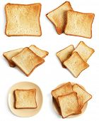 Set of toast bread slices on white background poster