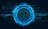 3d Render 3d Illustration Bitcoin Inscribed In A Circle And Around Is Surrounded By High-tech Hologr poster