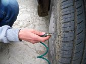 To Inflate The Automobile Tire, To Control The Air Level Of The Automobile Wheels, poster