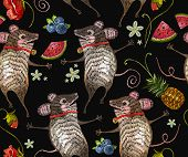 Embroidery Mouse Seamless Pattern. Two Cheerful Mice Are Danced In Flowers Classical Embroidery. Tem poster