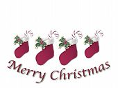picture of merry christmas  - line of four Christmas stockings with Merry Christmas sign under on white - JPG