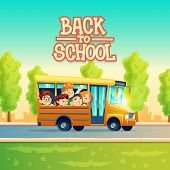 Back To School Vector Concept Illustration With Cheerful Smiling Kids, Happy Pupils, Riding On Yello poster