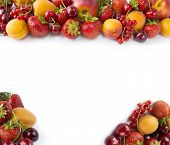 Red And Yellow Fruits On White Background. Ripe Apricots, Red Currants, Cherries And Strawberries. S poster