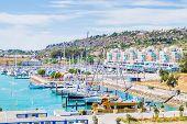 Vivid View Of Buildings And Boats In The Porto De Abrigo De Albufeira, Albufeira Bay In Albufeira, P poster