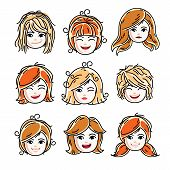 Collection Of Cute Smiling Girls Faces Expressing Positive Emotions, Vector Human Head Illustrations poster