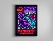 Jazz Festival Poster Neon. Neon Sign, Neon Style Brochure, Design Invitation Template For Jazz Music poster