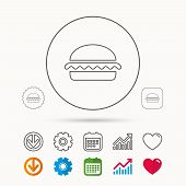 Vegetarian Burger Icon. Healthy Fast Food Sign. Burger Symbol. Calendar, Graph Chart And Cogwheel Si poster
