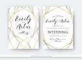 Wedding Double Invite, Invitation Save The Date Card Elegant Design With Luxury Vector Golden Foil G poster