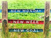 Motivational And Inspirational Quotes - New Monday, New Week, New Goal. With Vintage Styled Backgrou poster