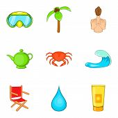 Active Recreation Icons Set. Cartoon Set Of 9 Active Recreation Vector Icons For Web Isolated On Whi poster