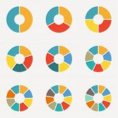 Circular Diagram Set. Pie Chart Template. Circle Infographics Concept With 2,3,4,5,6,7,8,9,10 Steps, poster
