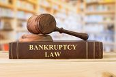 Bankruptcy Law Books With A Judges Gavel On Desk In The Library. Concept Of Bankruptcy Law,bankrupt, poster