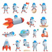 Astronaut Icons Set. Cartoon Set Of Astronaut Vector Icons For Web Design poster