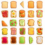 Toast Icons Set. Cartoon Set Of Toast Vector Icons For Web Design poster
