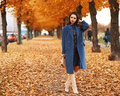 Stylish Fashionable Woman In Blue Coat And White Boots Standing In Autumn Colorful Park. Elegant Lad poster