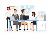 Business Meeting Flat Vector Illustration. Top Managers Discussing Business Plan, Project Presentati poster
