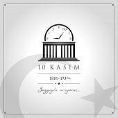 10 Kasim Vector Illustration. (10 November, Mustafa Kemal Ataturk Death Day Anniversary.) poster