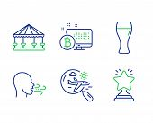 Breathing Exercise, Search Flight And Beer Glass Line Icons Set. Bitcoin System, Carousels And Winne poster