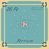 Periodic Table Element. Ferrum Colorful Icon. Vector. poster