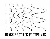 Tracking Of Human Footprints To Track Walk Paths. Silhouette From Shoes. Vector Illustration poster