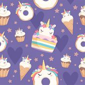 Unicorn Pattern. Dessert Decoration Magic Pony With Cupcakes Donut Sweets Vector Celebration Seamles poster
