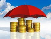 stock photo of golden coin  - Financial stability business success and insurance concept - JPG