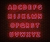 Neon Pink Alphabet Type Font Vector Isolated On Brick Wall. Abc Typography Letters Light Symbol, Dec poster