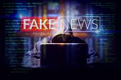 Hacker Working On A Computer Laptop, Double Exposure With Screen Of Fake News. Manipulated Content O poster