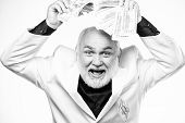 Rich Grandpa. Successful Lucky Businessman. Senior Man Pensioner Hold Cash Money. Earn Money Profit. poster