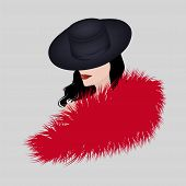 Fashionable Fur. Beautiful Woman, Face In Profile, Fur Collar With A Long Pile, Black Hat - Vector.  poster