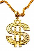 stock photo of gangster necklace  - Golden dollar symbol necklace on plain background - JPG