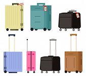 Suitcase On Wheels, Isolated Object Vector. Baggage Or Luggage, Summer Vacations Abroad, Journey Or  poster