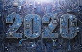 2020 on circuit board or motherboard with cpu. Computer technology and internet commucations digital poster