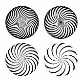 Hypnotic Spiral Vortex Vector Illustrations Set. Abstract Black And White Optical Illusions Pack. Ge poster
